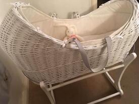 Mothercare apples and pears Moses basket with rocking stand