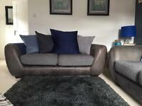 2 x two seater sofology sofas - grey with mixed cushions