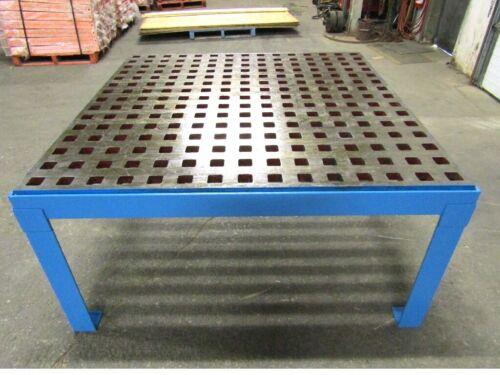 "ACORN Machine WELDING PLATEN Table 60"" x 60"" w Floor Stand 1 3/4"" Square Holes"