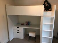 PERFECT CONDITION IKEA STUVA LOFT BUNK BED ALL WHITE LESS THAN A YEAR OLD!