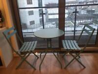 Blue Steel Bistro Set - Table and Two Folding Chairs