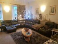 DFS Zara dark brown leather modular corner sofa