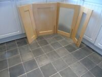 B&Q Kitchen cupboard doors - Shaker style light Birch with brushed steel long handles.