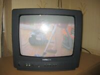 Hitachi television (old type) with free view box