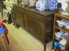 VINTAGE ORNATE VERSATILE SIDEBOARD. TWIN DRAWERS & TWIN CABINETS. VIEWING / DELIVERY AVAILABLE