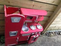 Free freebies toy retro red kitchen used out the garden