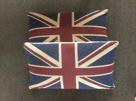 Two x large Union Jack cushions