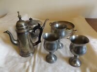 LOT OF ANTIQUE VICTORIAN SILVER PLATE INCLUDING ARABIC COFFEE POT, GOBLETS, TEAPOT AND COASTER