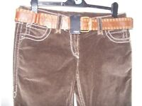 Ladies New brown cord wide bottom trousers, size 14R