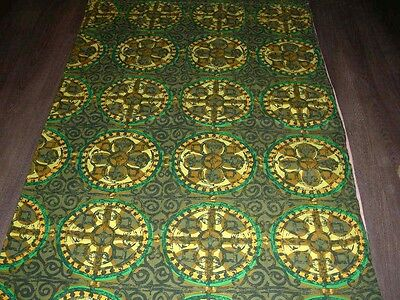 Vintage 50s 60s green stained glass look print cotton fabric length / curtain