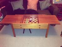 Vintage well-crafted wooden coffee/games table with chess board VGC
