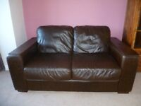 Chocolate Brown Leather 3-Seater Sofa and Matching Leather 2-Seater Sofa