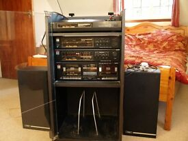 Fisher 1970s home stereo system, turntable, amplifier, tuner, double cassette deck and speakers