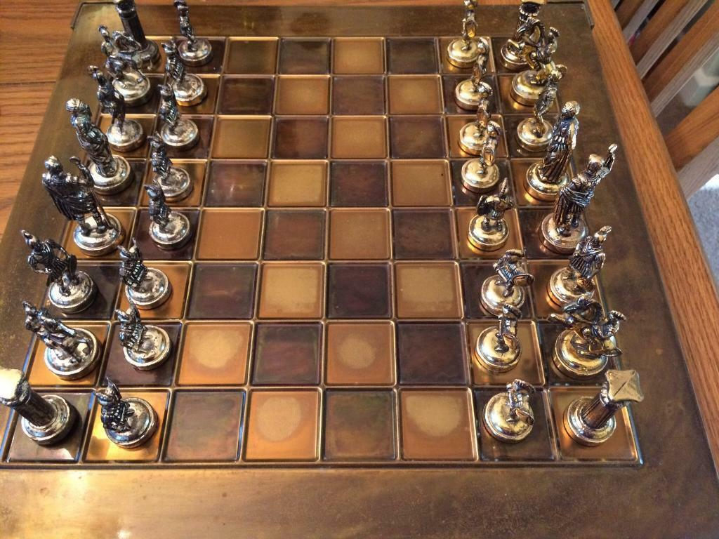 Solid brass Spartan figures chess set