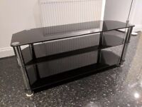 Black and Chrome Rectangular Glass TV Stand with 3 shelves