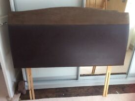 Chocolate brown faux leather and suede double headboard