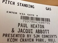 2 x Paul Heaton and Jacqui Abbott tickets pitch standing at lightstream Craven Park Hull