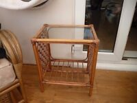 conservatory cane wicker and glass top table, £15