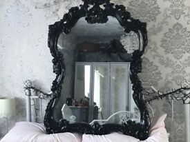 Large Black Ornate Mirror