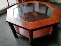 Wooden Coffee table - Glass top with classy style