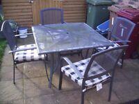 GARDEN TABLE & 4 CHAIRS PATIO SET