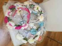 Flower crowns. 21 artificial flower crowns, assorted colours. Brand new in original packaging.