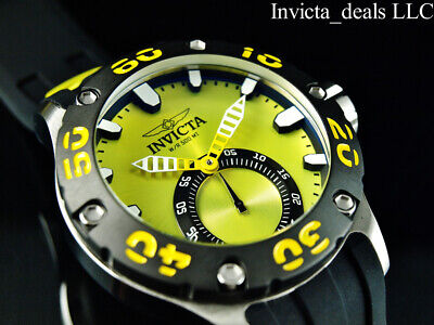 Invicta 52mm Russian Diver Quartz Yellow Dial Silver/Black Stainless Steel Watch