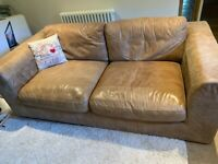 John Lewis tan leather sofa