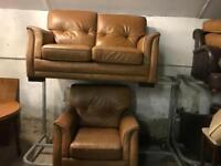 🎅 tan leather 2 and 1 sofa set