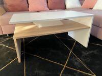Modern Coffee Table oak&white with storage shelf