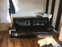 X2 endurance leather couches. 3 seaters in black £500 for the pair
