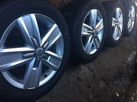 """4x Brand New Genuine 17"""" VW Transporter T6 T5 alloy wheels +New Continental tyres T32 T30 CAN POST"""