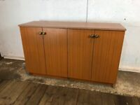 Wood Effect Office Kitchen Cabinet Sideboard with 4 Doors and Shelves