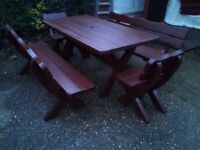 Chunky Garden Furniture Large Patio Set Table, 2 Benches 2 Chairs -Free Delivery In Southampton Area