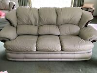 3 seater leather sofa , new chair & stool