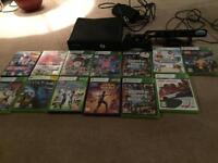 Xbox 360 with kinetic , wireless controller and 12 games
