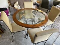 Ducal metal round glass/wood top table with 4 upholstered chairs