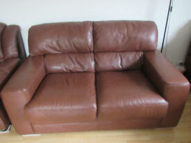2 Italian Belgravia brown leather sofas. Excellent condition.
