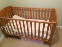 Mamas and Papas cot and chest of drawers. Mattress included