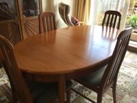 Offers Please - Retro Teak Oval Expanding Dining Table & 4 Chairs