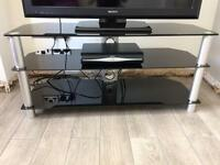 Large black and silver glass tv stand