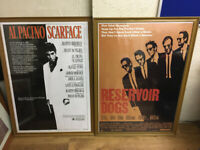 Large Framed Wall Pictures x 2 - Vintage Film Posters - Scarface/Reservoir Dogs