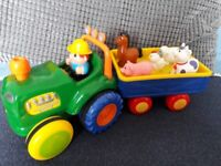 Old McDonald farm tractor with animals