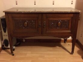 Antique, marble topped sideboard / wash stand