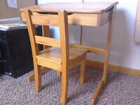Childrens Wooden Desk with lift up lid storage and chair