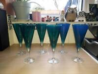 6 Large Turquoise Cocktail Glasses