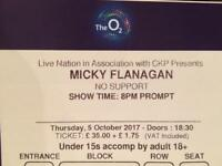 Single premium Micky Flanagan ticket, Block B2 row F