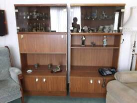 Two display storage cabinets