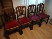 Set of 4 dark oak dining chairs