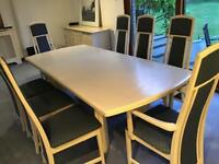 G Plan 8 Seater Dining Table and Chairs , Nest of Tables, Sideboard , Glass Top Occasional Table.